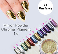 12 Color Chrome Mirror Powder Gold Pigment Ultrafine Powder Dust Nail Glitters Nail Sequins Nail Art Decorations 1g