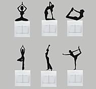 AYA™ Set of 6 DIY Creative Yoga Switch Stickers Wall Decor