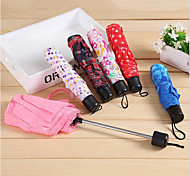 Couple Lattice Three Folding Umbrella Portable Mini Folding Umbrella Stalked