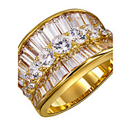 New Arrival Women Cubic Zirconia Deluxe Wedding Ring 18K Gold Platinum Plated Rectangle Round Shape CZ Lead Free