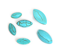 Beadia 30Pcs 5x10mm Navette Shape Synthetic Turquoise Stone Cabochons Beads