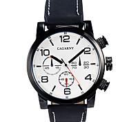 CAGARNY Men's Military Watch Dress Watch Fashion Watch Wrist watch / Quartz Leather Band Vintage Black Brown