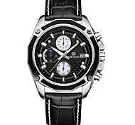 MEGIR® Men's Leather Band Black/White Case 30M Water Resistant Noctilucent Sports Dress Watch(Include Package)