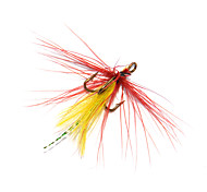 Anmuka 12pcs Dry Fly Lures Treble Hook Various Colors Feather Hook Trout Fishing Dry Flies