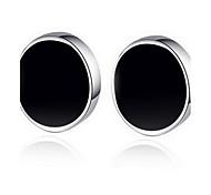 S925 Fine Silver Black Stud Earrings