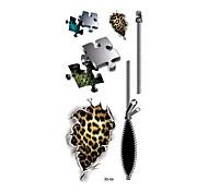 1pc Women Men Waterproof Temporary Tattoo Simulation Body Art Puzzle Wound Leopard Print Zipper Scale 3D-06