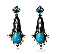 Vintage Earrings for Women Black Gold Plated Flower Drop Earrings Fashion Bohemian Jewelry Accessories