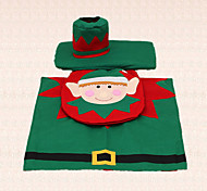 3pcs Elf Christmas Toilet Seat Tank Rug Cover Decoration for Home Bathroom Supplies