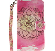 Painted Pink Flowers Pattern Card Can Lanyard PU Phone Case For LG G3 G4 G5 K7 K8 K10
