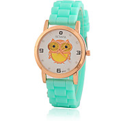 Kid Women's Silicone Band White Owl Case Jelly Silicone Band Analog Quartz Fashion Dress Casual Watch