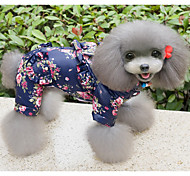 Cat / Dog Coat / Clothes/Jumpsuit Blue / Pink Winter / Spring/Fall Floral / Botanical Valentine / Holiday, Dog Clothes