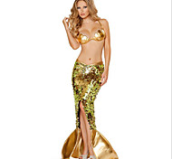 Costumes Mermaid Tail Halloween / Carnival / Oktoberfest Golden Vintage Terylene Skirt / Bra / Tail