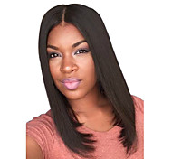 New Jet Black Middle Length Center Parting Hairstyles Natural Top Quality Straight Wigs
