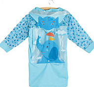 Blue Raincoat Rainy Plastic Kids / Travel