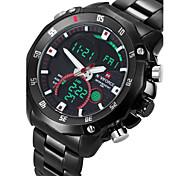 NAVIFORCE Masculino Relógio Esportivo Relógio Militar Relógio de Pulso LED Calendário Cronógrafo Impermeável Dois Fusos Horários alarme