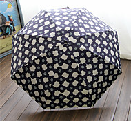 Elegant Flowers Half Off Portable Small And Pure And Fresh And Translucent Super Sun Umbrella