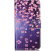 Wallet / Flip Blue Bottom Plum Blossom PU Leather Hard Case Cover For Apple iPhone 7 / iPhone 7 Plus