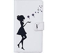 PU Leather Material Black Girl Pattern Phone Case for Samsung Galaxy G530/J5/J310