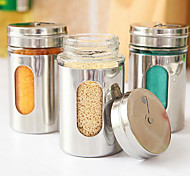 Stainless Steel Seasoning Cans with Lid and Holes for Kitchen