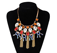 Xu Women 's Exaggerated Fashion Leisure Glass Fashion Alloy Necklace