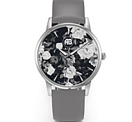 Louis Silver Case Flower Dial Grey Leather Strap Watch