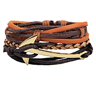 Unisex Fashion Jewelry Anchor Handmade Adjustable Strand Genuine Leather Bracelet Casual/Daily Women Men Gift