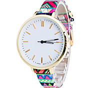 Women/Lady's Flower PU Thin Band Flower White Round Case Analog Quartz Fashion Watch