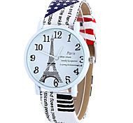 Women's Quartz Watch Clock Women Leather Casual Dress Women's Paris Word Eiffel Tower Wristwatch Cool Watches Unique Watches
