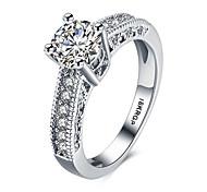 Жен. Классические кольца Массивные кольца Любовь Мода По заказу покупателя бижутерия Драгоценный камень Стерлинговое серебро Циркон