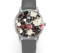 Louis Silver Case Colorful Flower Dial Grey Leather Strap Watch