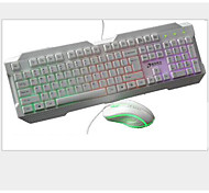 Keyboard Mouse Backlit Suits Cable Dazzle Colour Keyboard Seven Color Breathing Lamp Mouse Keyboard Suite