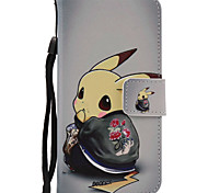 Cartoon Pattern PU Leather Material Colored Lanyard Card Phone Case For iPhone 7 7 Plus