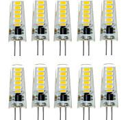 10шт g4 12led smd5733 2w 200-300lm теплый белый / белый декоративные светодиодные би-контактные лампы dc12v