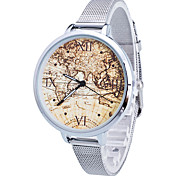Women/Lady's Gold/Silver Steel Thin Band World Map White Round Case Analog Quartz Fashion Watch