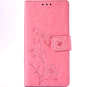 Five Leaves and Flowers Embossed PU Leather Material Leather  for Huawei P8 P8 Lite P9 P9 Lite Mate 8