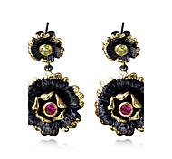 New style Bohemian Black Gold Plated Flower earrings For women Female Fashion Wedding earrings Accessories