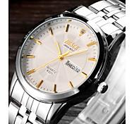 BOSCK® Men's Analog Quartz 30M Water Ressistant Calendar Luminous Silver Steel Band Wrist Dress Watch