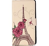 For Sony XP M4 Case Cover Rose Tower Pattern Painting Card Stent PU Leather Phone Case