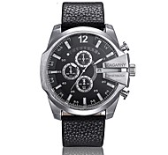 CAGARNY 6839 Men's Fashion Big Dial Wrist Quartz Watch with Calendar PU Leather Strap