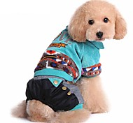 Dog Clothes Jumpsuit Stripe  Keep Warm Fashion Halloween Christmas Cotton