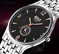BOSCK® Men's Analog Quartz 30M Water Ressistant Silver Steel Band Wrist Dress Watch