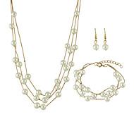 New Imitation Pearl Chain Necklace Bracelets Earrings Set for Women