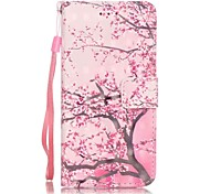 Plum Pattern Perspective Shiny Glare Material PU Leather Card Holder for  iPhone 7 7 Plus 6s 6 Plus SE 5s 5