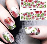 a impressão de moda impressão de transferência padrão de água de rosas adesivos de unhas