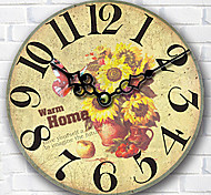 1PC Tuba European Style Palace Wooden Wall Clock Room Decoration  Sitting Room Quartz Clock  (Pattern is Random)