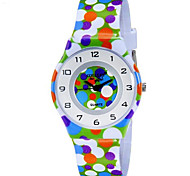 Kids' Fashion Lovely Colorful Dot Design Casual Wrist Quartz Watch with Plastic Band
