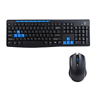 Gaming Keyboard Wireless Multimedia Ergonomic Gaming Keyboard Mouse Set for Desktop PC Black and Blue 8600