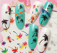 Fashion DIY Designer Water Transfer Nails Art Sticker Color/Black/Gray Coconut Tree Fashion Nail Decal