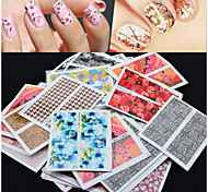 Mix 50pcs/pack Flower Design Nail Sticker Watermark Decals