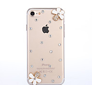 Per Custodia iPhone 7 Custodia iPhone 7 Plus Custodia iPhone 6 Custodie cover Con diamantini Custodia posteriore Custodia Fiore decorativo